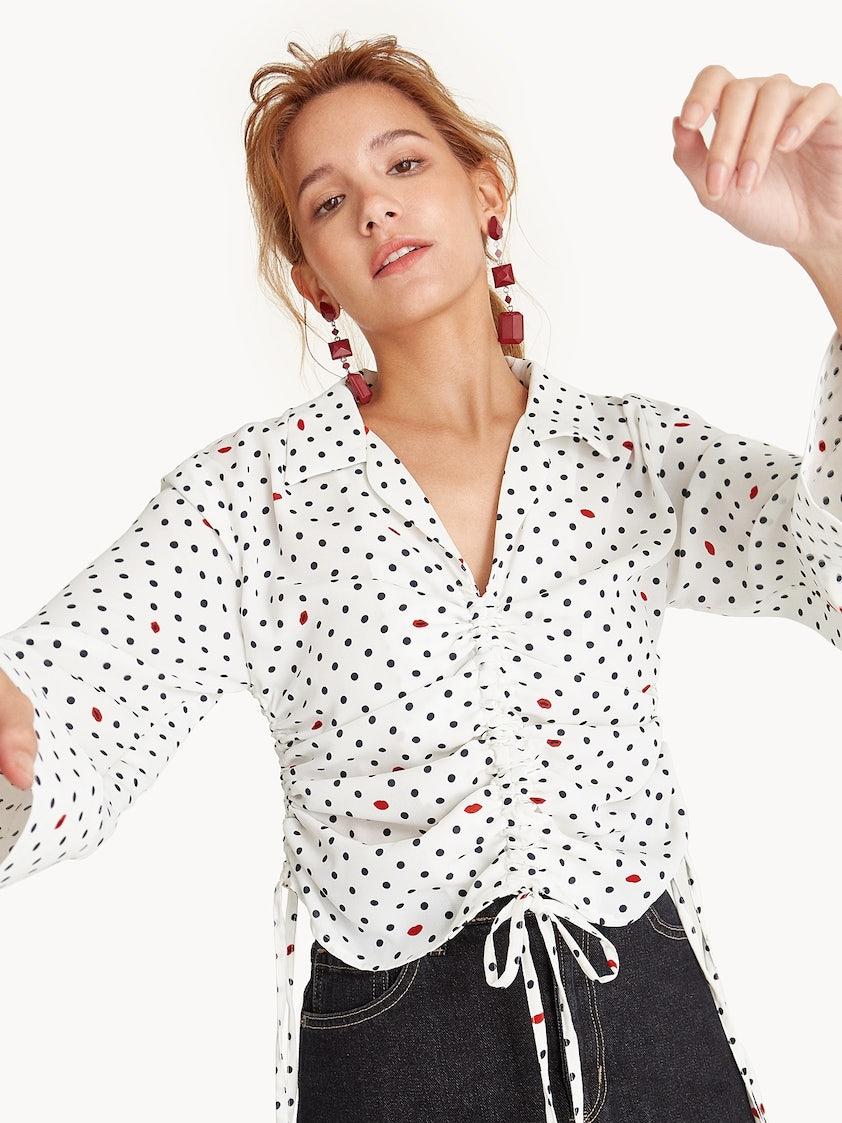f2ec8988db5 Polka Dot Drawstring Blouse - Pomelo Fashion