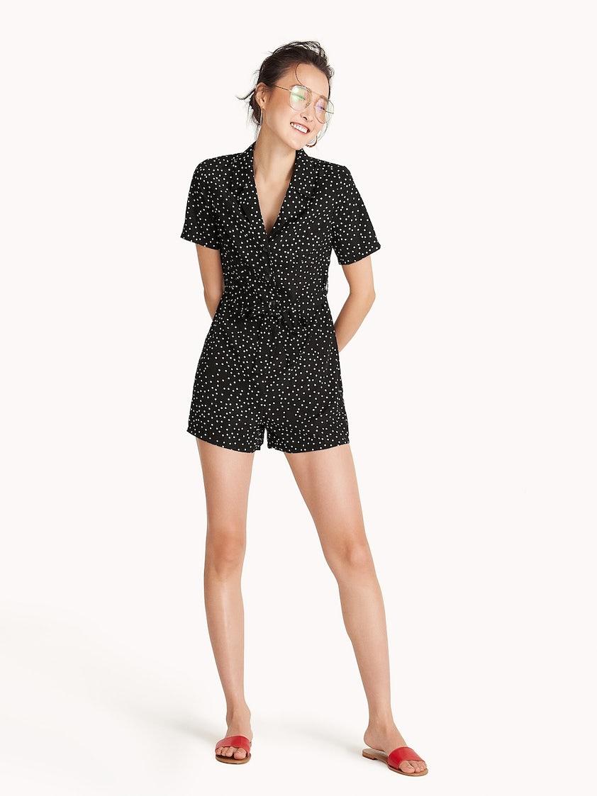 f388daf69a3d Polka Dot Waist Tie Romper - Black - Pomelo Fashion