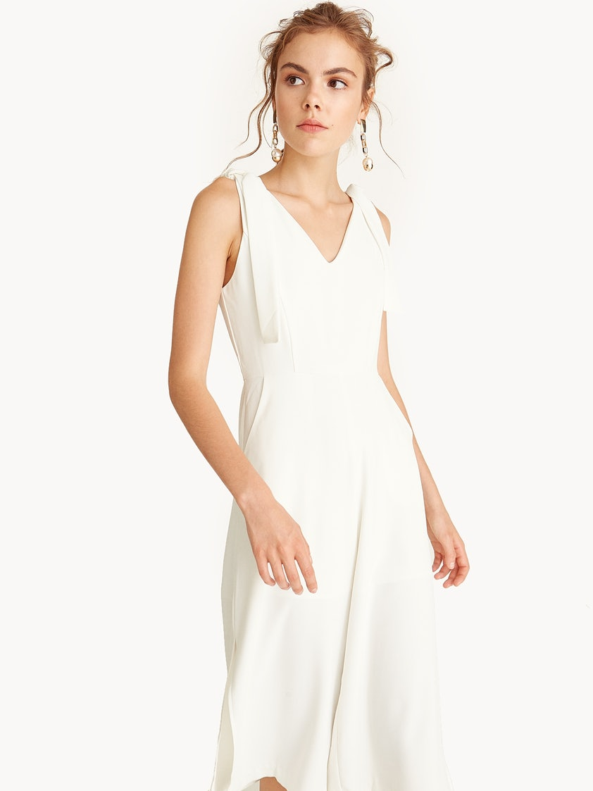 599083a71c70 Side Slits Cropped Jumpsuit - White - Pomelo Fashion