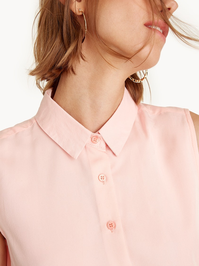 7447572f53b170 Sleeveless Button Down Shirt - Pink - Pomelo Fashion