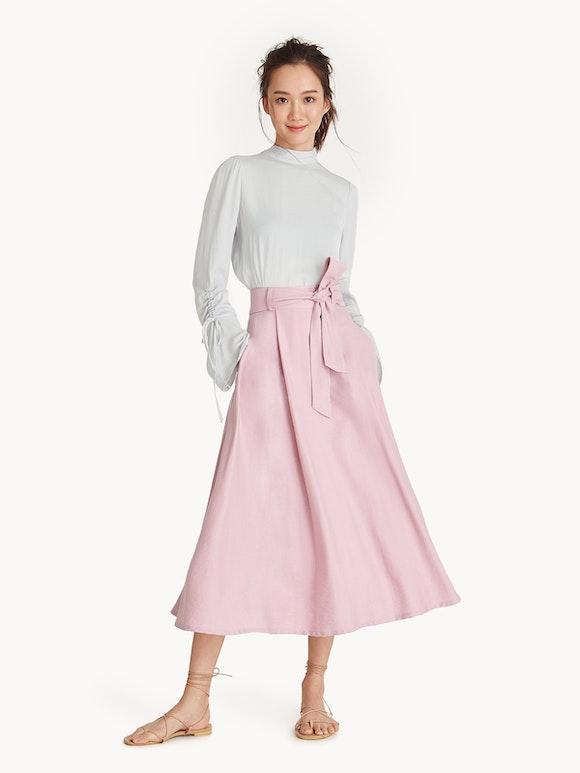 Shoptagr | Midi Bow Tie Waist Skirt Pink by Pomelo