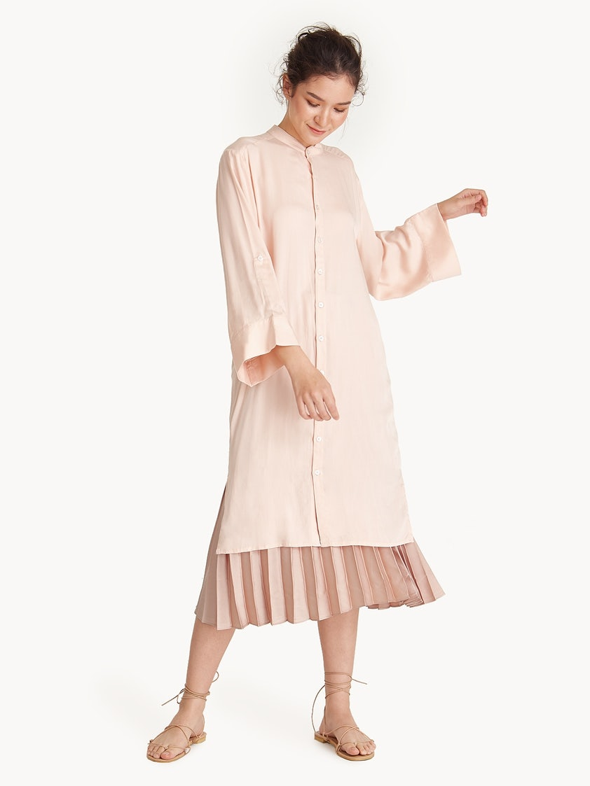 a8cbec4bce0a Mandarin Collar Tie Waist Shirt Dress - Light Pink - Pomelo Fashion