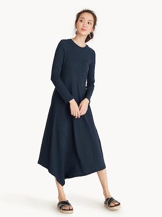 ad7b5c99bc6 Long Sleeves Asymmetrical Midi Dress - Navy - Pomelo Fashion