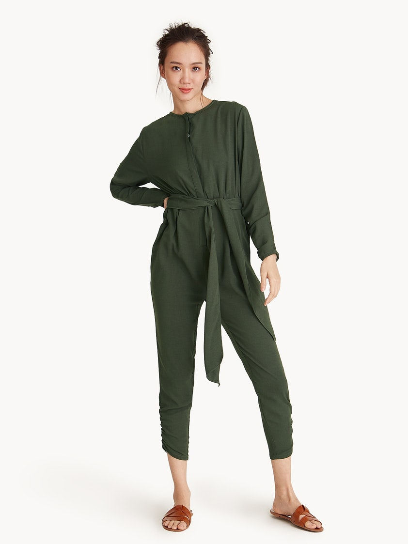 55371ab50e08 Cropped Ankle Tie Waist Jumpsuit - Green - Pomelo Fashion