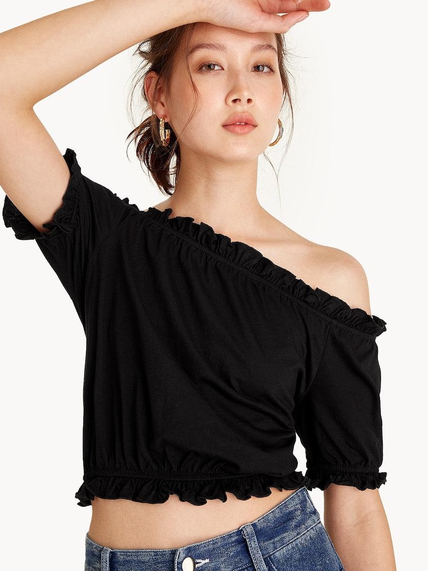 783efbb86a9adf Cropped Cold Shoulder Top - Black - Pomelo Fashion