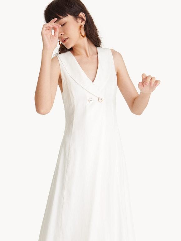 Shoptagr | Premium Tencel Maxi Sailor Collar Dress White by Pomelo