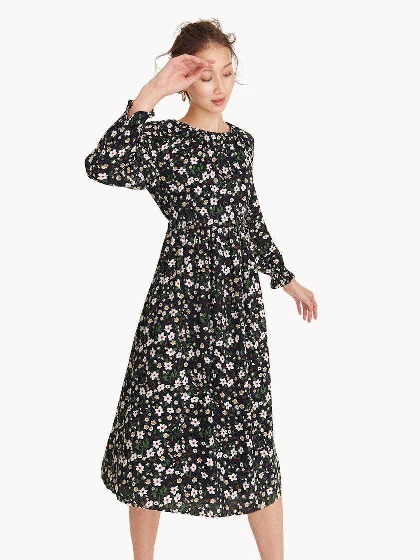 Midi Long Sleeve Floral Dress - Black - Pomelo Fashion 3874de15e