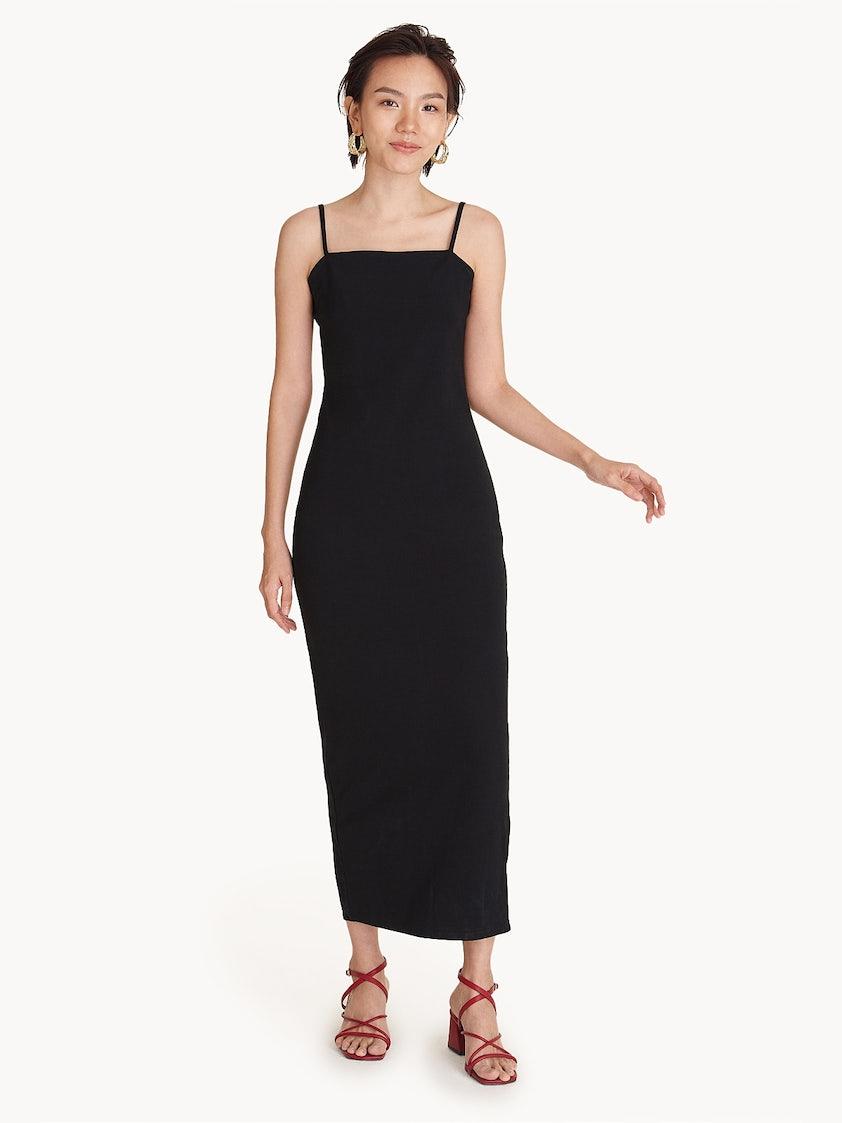 c51b85f696 Spaghetti Strap Maxi Dress - Black - Pomelo Fashion