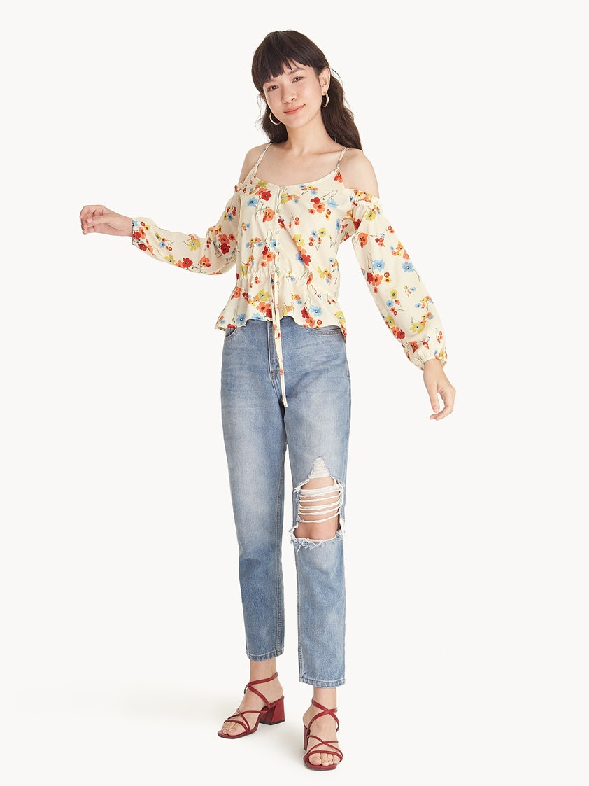 604a25f01712d Floral Frill Cold Shoulder Blouse - Pomelo Fashion