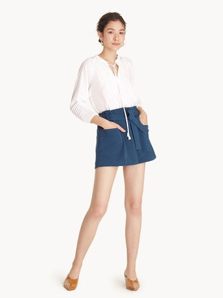 a3c8d6ed50 Mini Front Pockets Paper Bag Skort - Navy - Pomelo Fashion