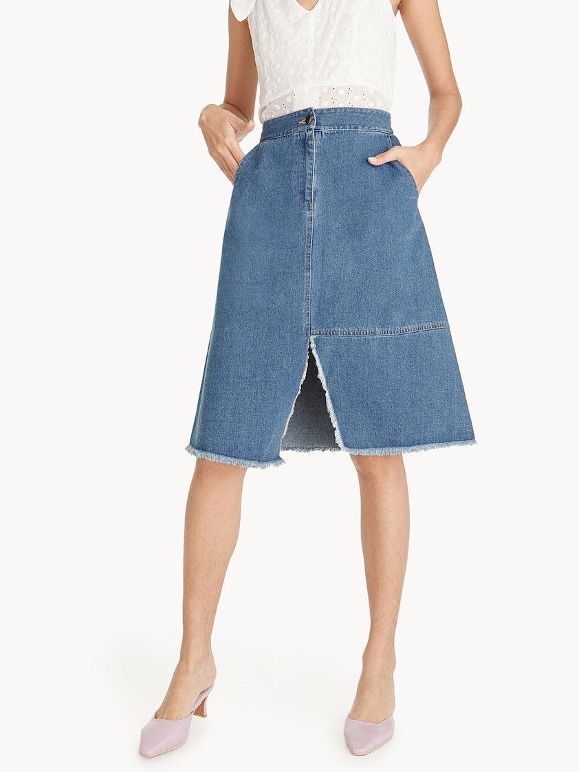 83967a707a Mini Front Slit Denim Skirt - Pomelo Fashion