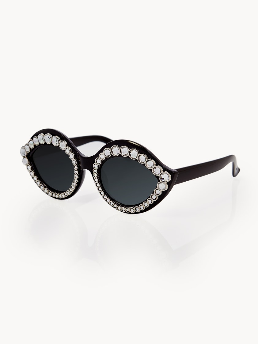74b5f04f9d10f Cat Eye Embellished Sunglasses - Black - Pomelo Fashion