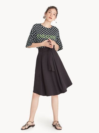 50f206ed43c Bow Tie Front Pleated Skirt - Black - Pomelo Fashion