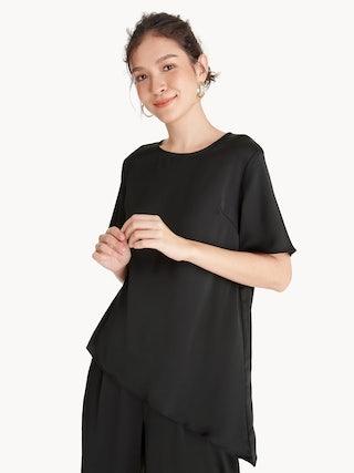 3af51ae79a9 Asymmetrical Round Neck Top - Black - Pomelo Fashion
