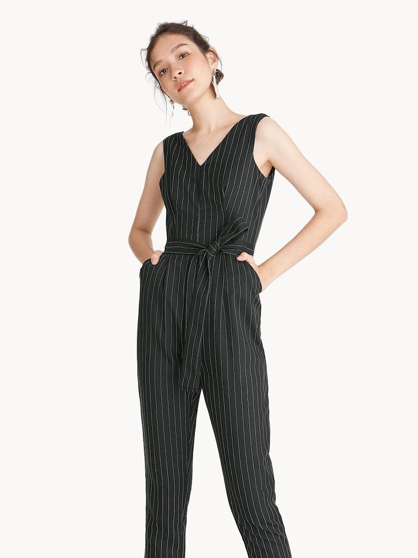 c4d20abe9519 Pinstripe V Neck Jumpsuit - Black - Pomelo Fashion