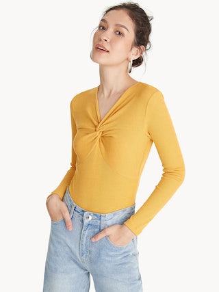f338bebaa233 Front Knot Long Sleeves Bodysuit - Yellow - Pomelo Fashion