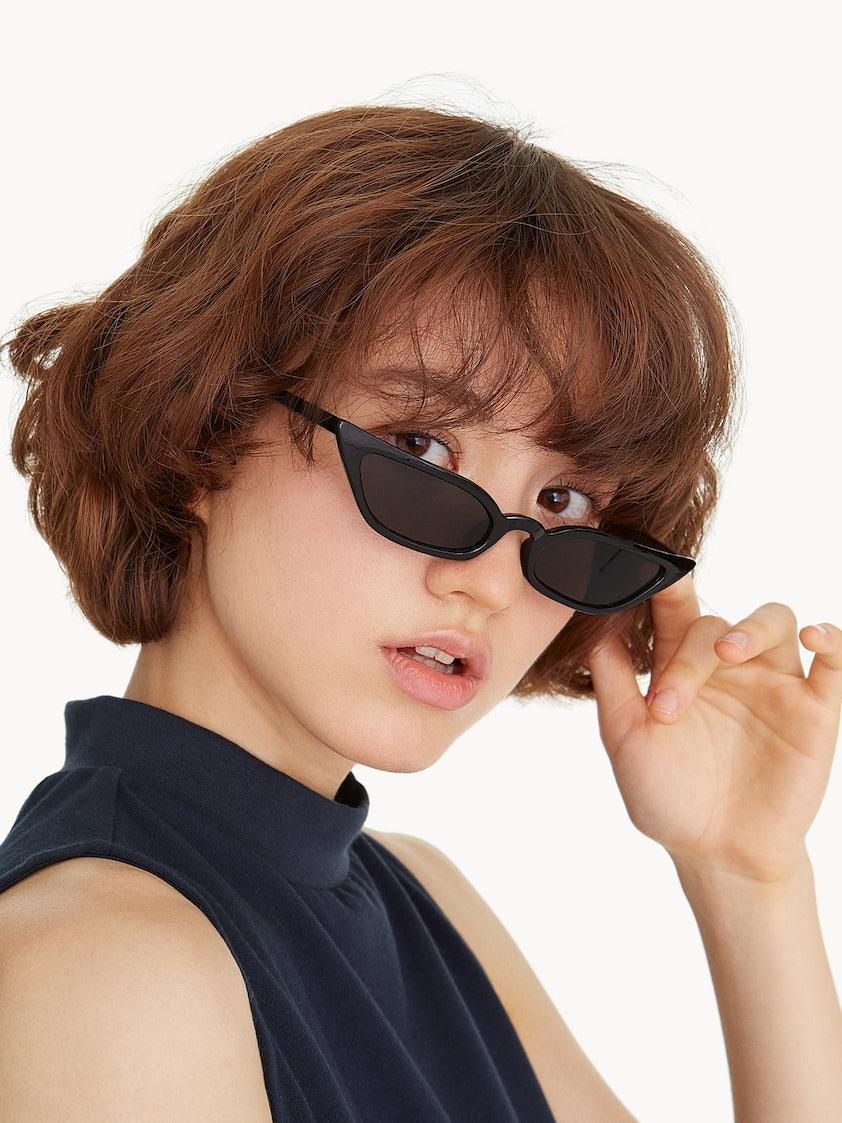 f1375566d7e56 Translucent Thin Cat Eye Sunglasses - Black - Pomelo Fashion