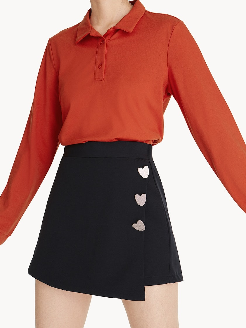 Heart Shaped Buttons Skort - Black - Pomelo Fashion