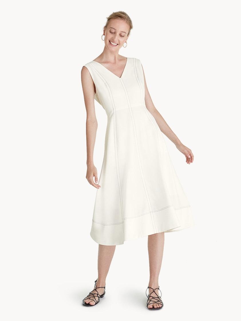 162c637985aa Premium Polyester Midi Fit And Flare Dress - White - Pomelo Fashion