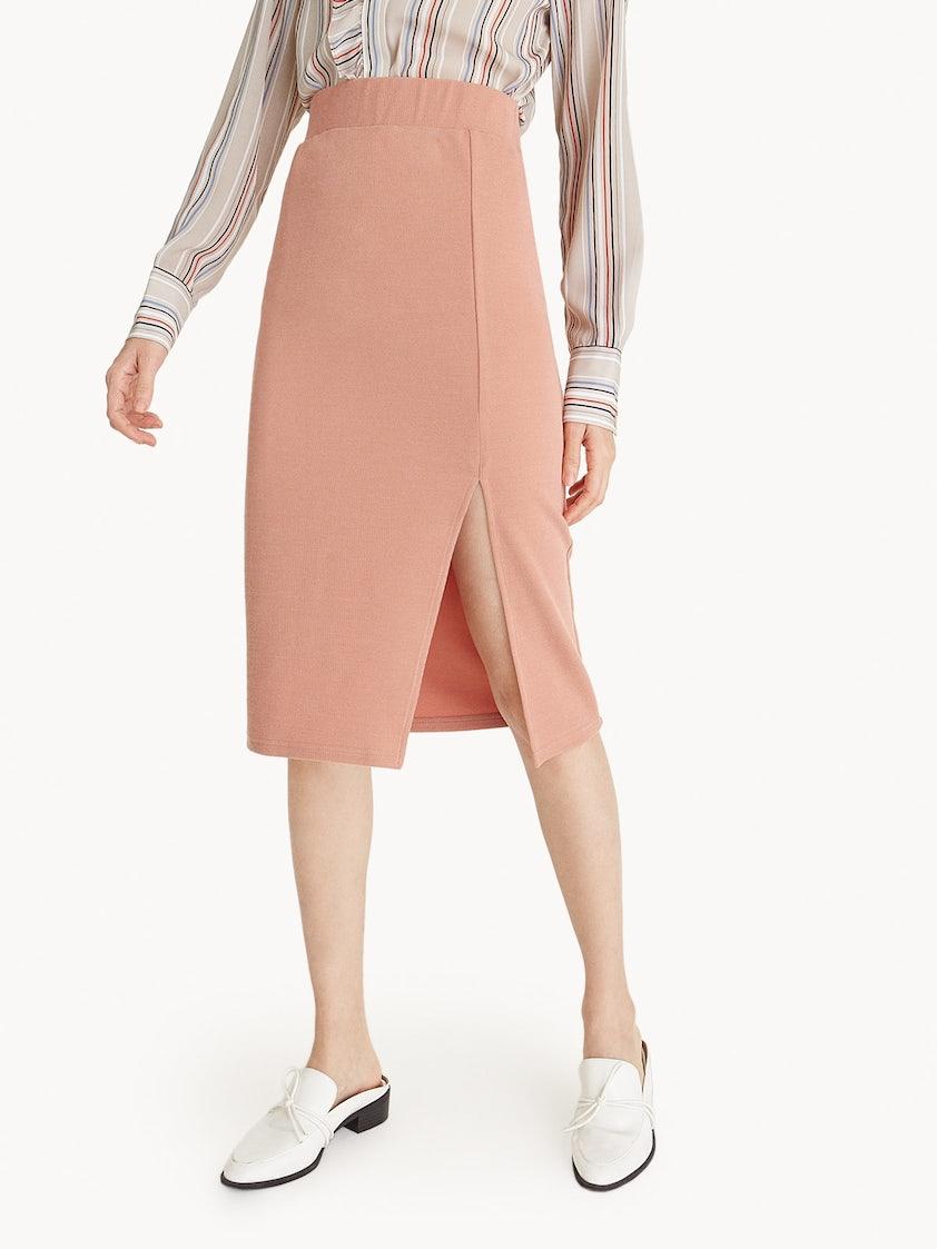 8c99c87db725 Midi Front Slit Pencil Skirt - Pink - Pomelo Fashion