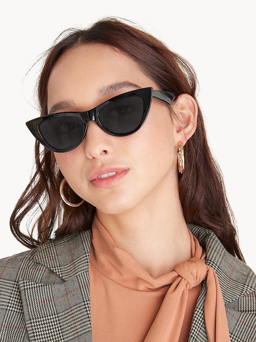 8dd1631b337b2 Pointed Tip Cat Eye Sunglasses - Black - Pomelo Fashion
