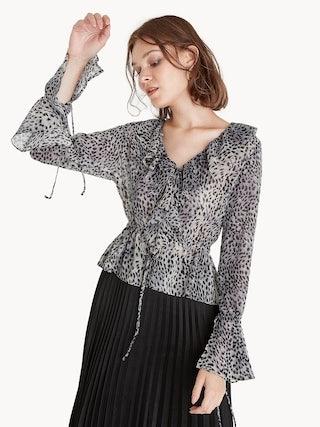 b43b95bf25 Ruffled Neck Leopard Print Blouse - Pomelo Fashion
