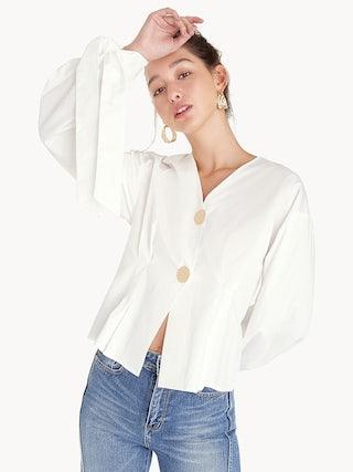 86f2b0c42 Oversized Button Tie Shirt - White - Pomelo Fashion